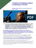Le physicien Stephen Hawking soutient le boycott académique d'Israël