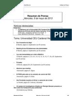 Resumen Prensa CEU-UCH 8-05-2013