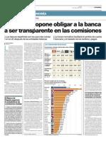 Bruselas propone obligar a la banca a ser transparente en las comisiones