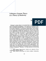 Luhmann Theory as Theory of Modernity