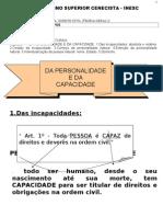 UNIDADE III- DA Personalidade E Capacidade. 24.08.2012