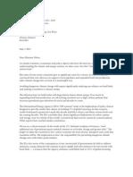 Letter to Hon Minister Oliver