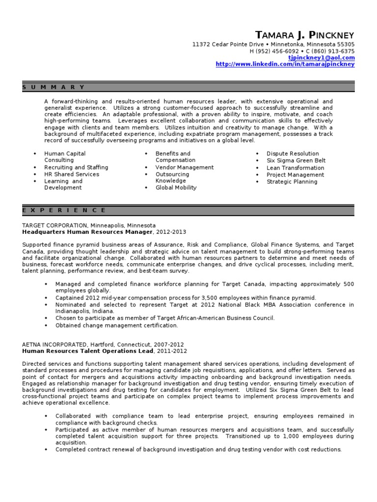 Hr Manager Resume Human Resource Management Employment