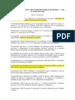 RESOLUÇÃO NORMATIVA DO CONSELHO FEDERAL DE QUÍMICA