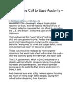 IMF Renews Call to Ease Austerity