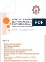 ADAPTAR UNA OBRA DE TEATRO CLÁSICO AL CONTEXTO