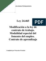 Ley 24.465. Antecedentes Parlamentarios. Argentina