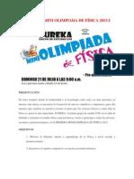 PRIMERA MINI OLIMPIADA DE FÍSICA Eureka