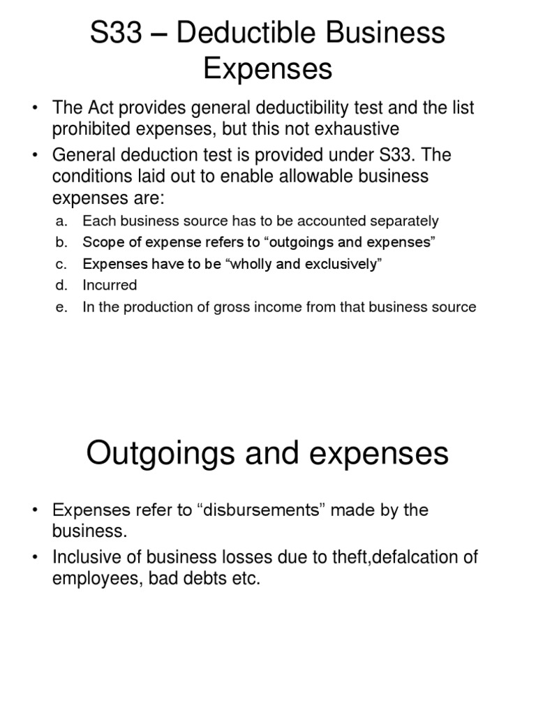 business expenses expense tax deduction