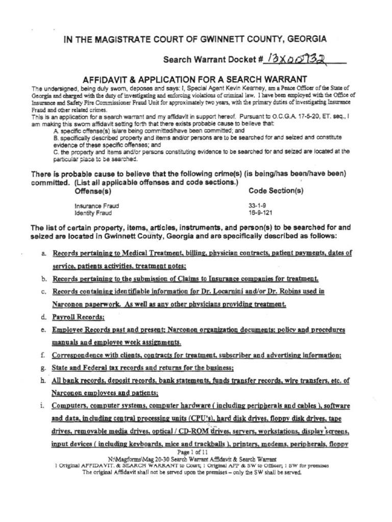Narconon Georgia Search Warrant Affidavit | Floppy Disk | Computer File