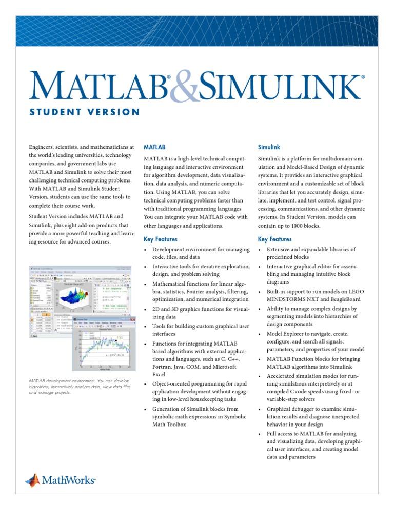 datasheet mat lab pdf | Matlab | Simulation