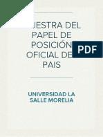 MUESTRA DEL PAPEL DE POSICIÓN OFICIAL DEL PAIS