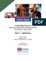 Leadership Success, Part 1 - Behaviors