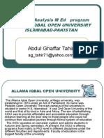 SWOT Analysis M. Ed Program Allam Iqbal Open By Abdul Ghaffar Tahir