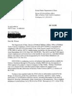 State Dept Letter