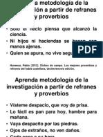 METODOLOGÍA DE LA INVESTIGACION, REFRANES Y PROVERBIOS