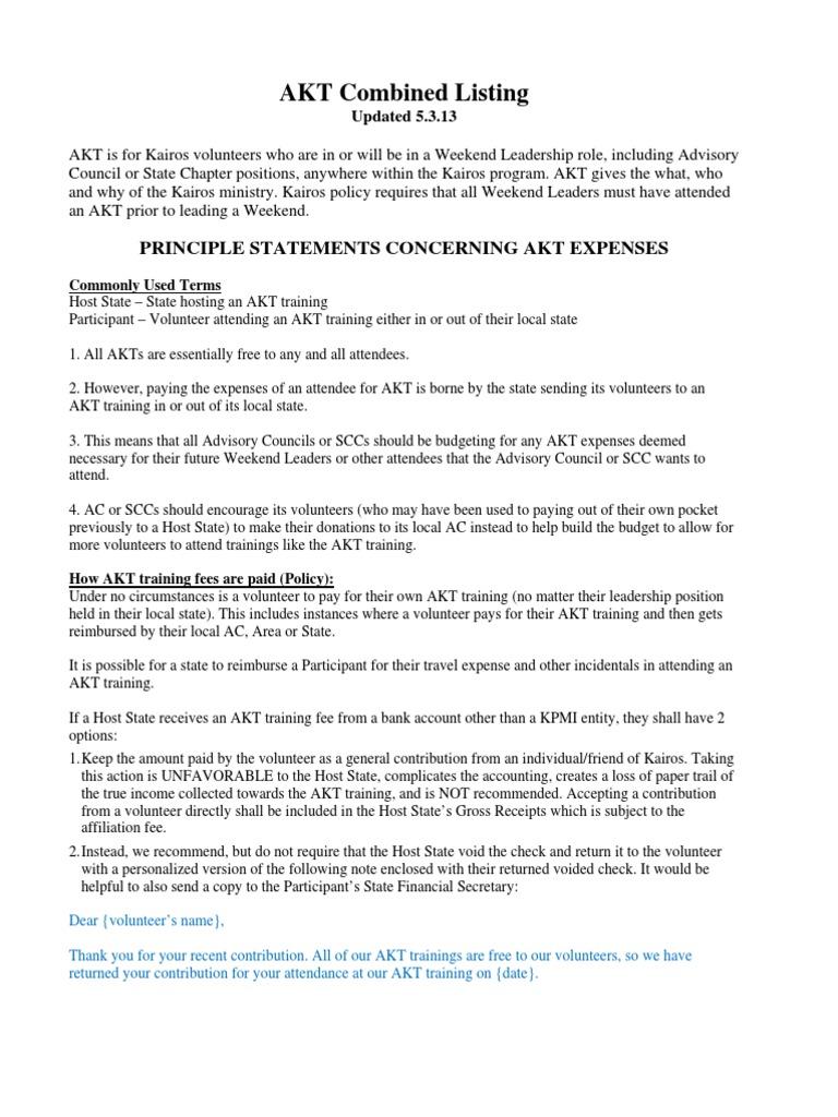 Akt Notice | Receipt | Meal