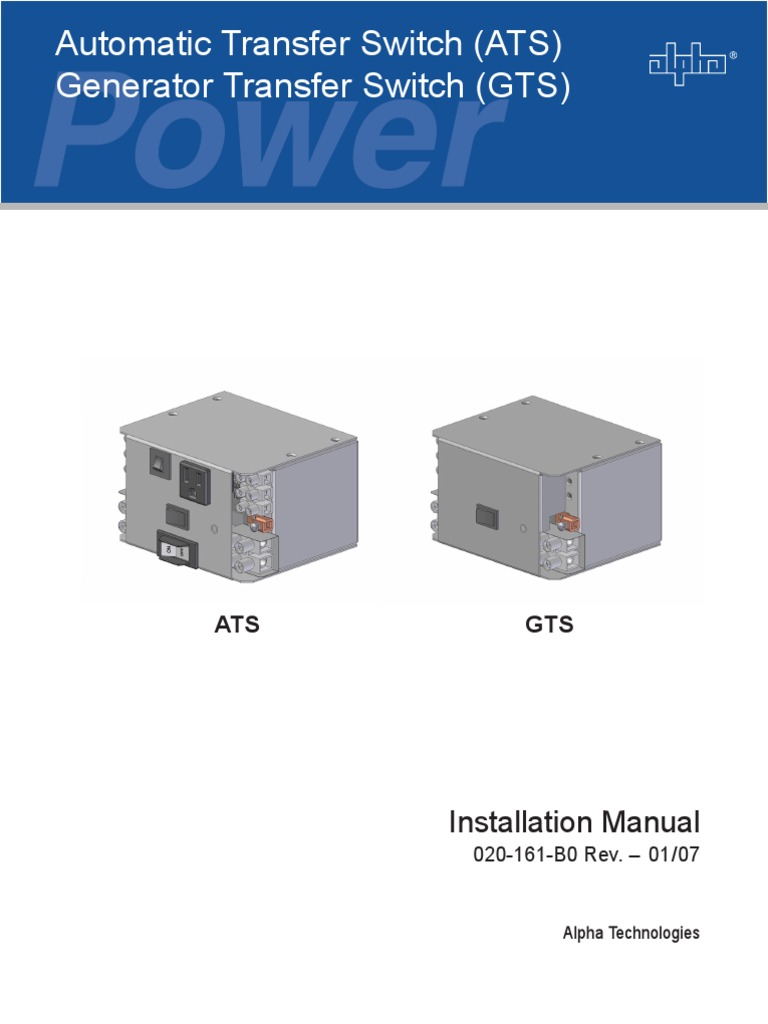 Ats Gts Installation Manual 020 161 B0 Rev 0107 Switch Battery Rack Alpha Wiring Diagram Electric Generator