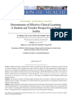 AlHaqwi, Molen, Schmidt, & Magzoub 2010 Determinants of Effective Clinical Learning - A Student and Teacher Perspective in Saudi Arabia