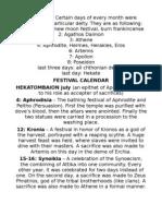 Athenian Festival Calendar