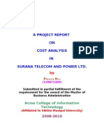 A Project on Cost Analysis