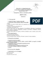 Tematica Admitere in Mag. 2012-2013