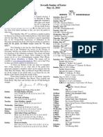 May 12, 2013 Bulletin
