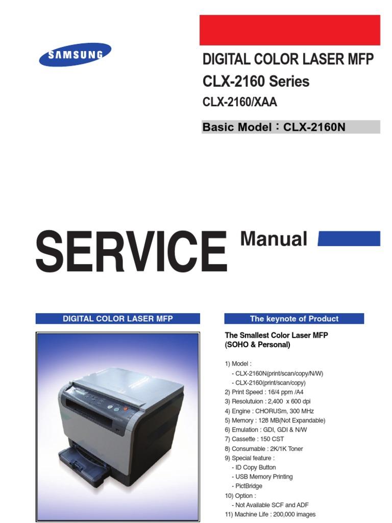 Samsung Clx-2160 Сервис-мануалы