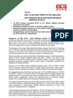 SGX-Listed ECS Announces 1Q 2013 Net Profit of $8.3 Million; 34.2% Net Profit Growth Rate Outpaces Revenue Growth of 20.9%