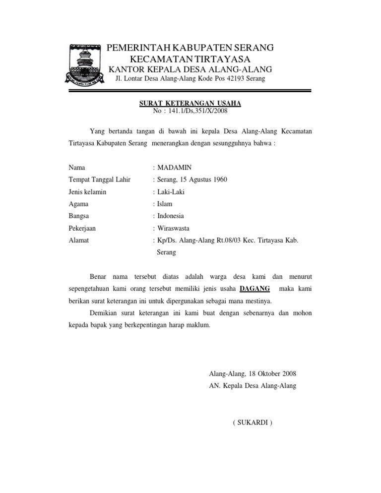 Contoh Surat Izin Usaha Perdagangan Dari Desa - Berbagi ...
