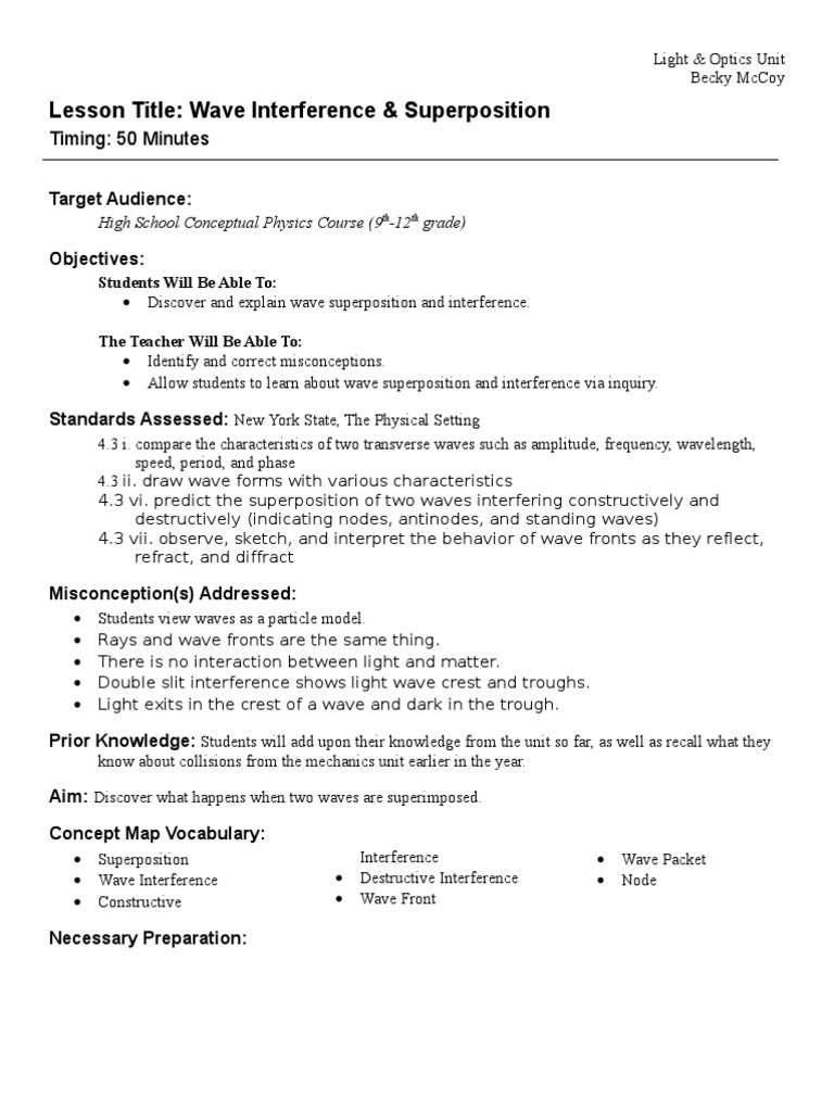 worksheet Characteristics Of Waves Worksheet 6 wave interference superposition propagation waves