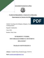 Durkheim y Weber Sociologia de la Religión