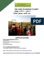 Farm and Garden Camp 2013 Application
