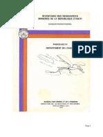 Inventaire Des Ressources Minières de la République D'Haïti (Ouest)