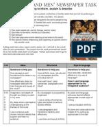 David Dizzle's G8 'of Mice and Men' - Newspaper Assessment Sheet (Teacher Assessed)