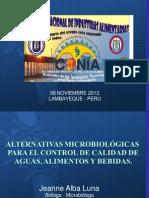 ALTERNATIVAS MICROBIOLÓGICAS PARA EL CONTROL DE CALIDAD DE AGUAS, ALIMENTOS Y BEBIDAS_XIICONIA2012_UNPRG-LAMBAYEQUE