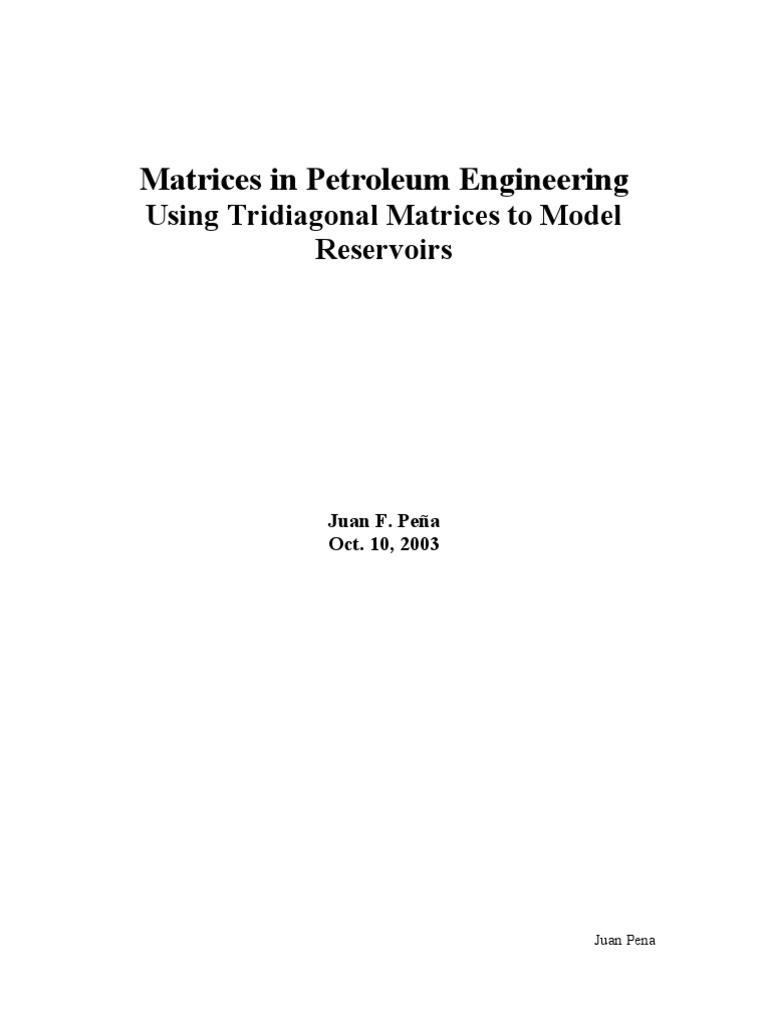 Matrices in Petroleum Engineering | Matrix (Mathematics