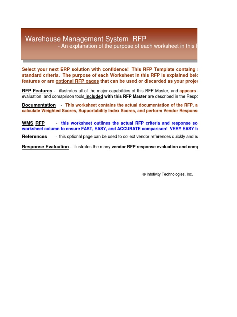 Warehouse Management Software WMS System Selection RFP Template ...