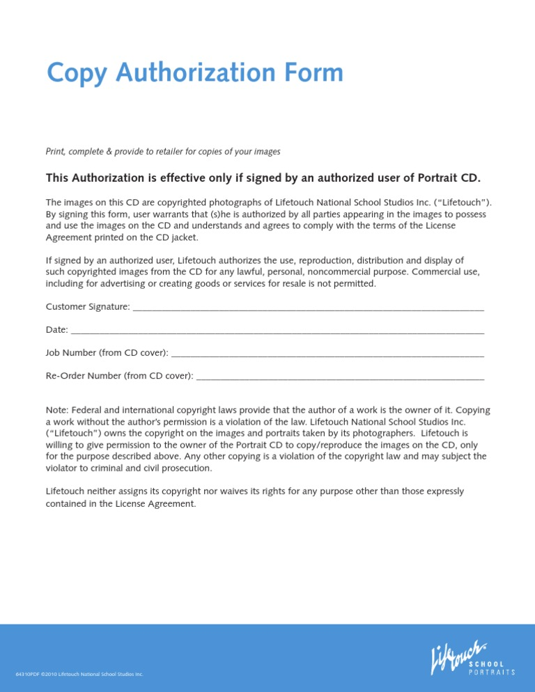 us copy authorization for lifetouch photography