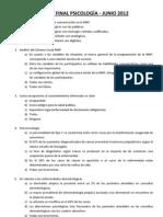 Examen Psicología - Junio 2012