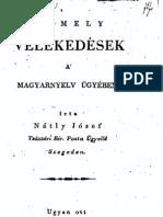 Nátly József - Nemely vélekedések a magyarnyelv ügyében 1825.