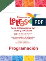 Programación de la VI Temporada de Letras y Feria Internacional del Libro y la Cultura