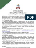 MESTRADO DENTÍSTICA UFPA edital 20132015
