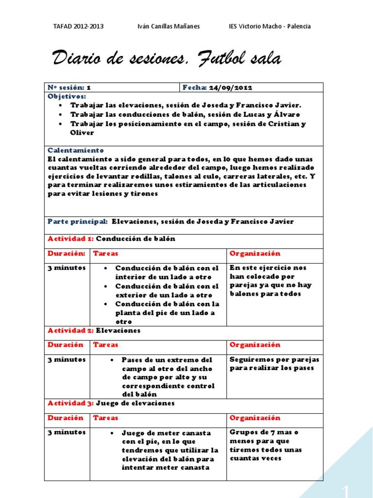 Diario de Sesiones Futbol Sala. Ivan Canillas 3925f59330089