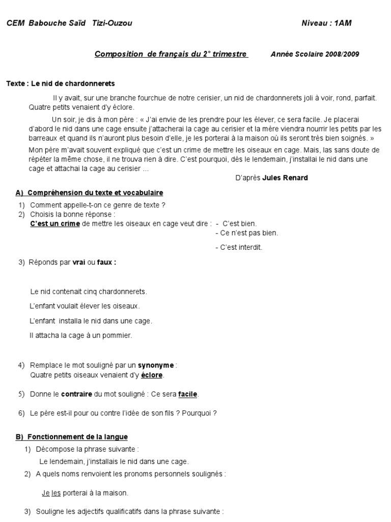 Composition1am2trimestre Grammaire Langues