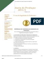 Áreas de Engenharia de Producação - Engenharia de Produção 2011_2