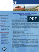 ACM International Workshop on Multimedia Technologies for Distance Learning MTDL 2009