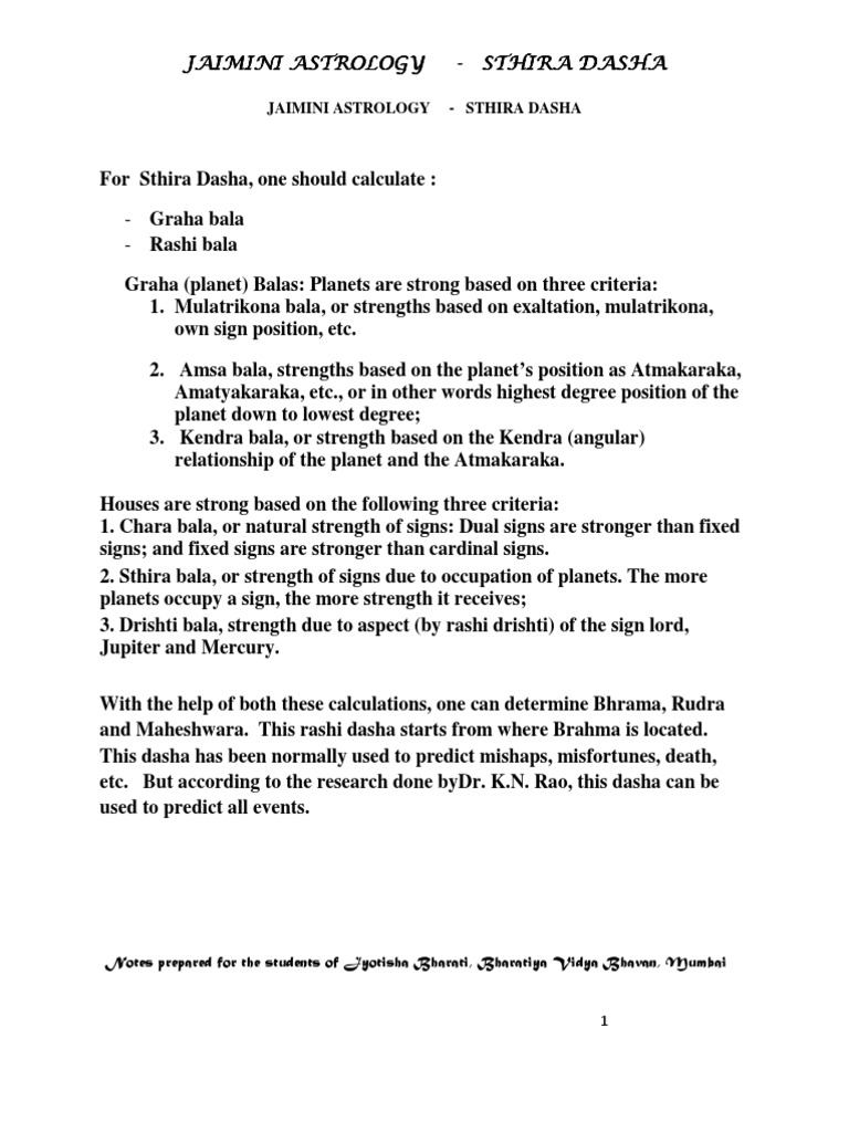 JAIMINI ASTROLOGY - STHIRA DASHA CALCULATION WITH A CASE STUDY