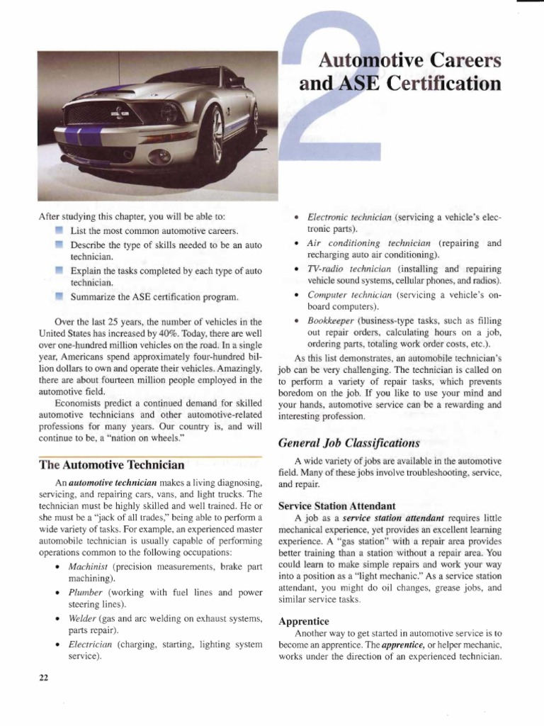 Chapter 2 Automotive Careers Ase Certification Transmission