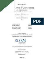Manufacture of Acrylonitrile